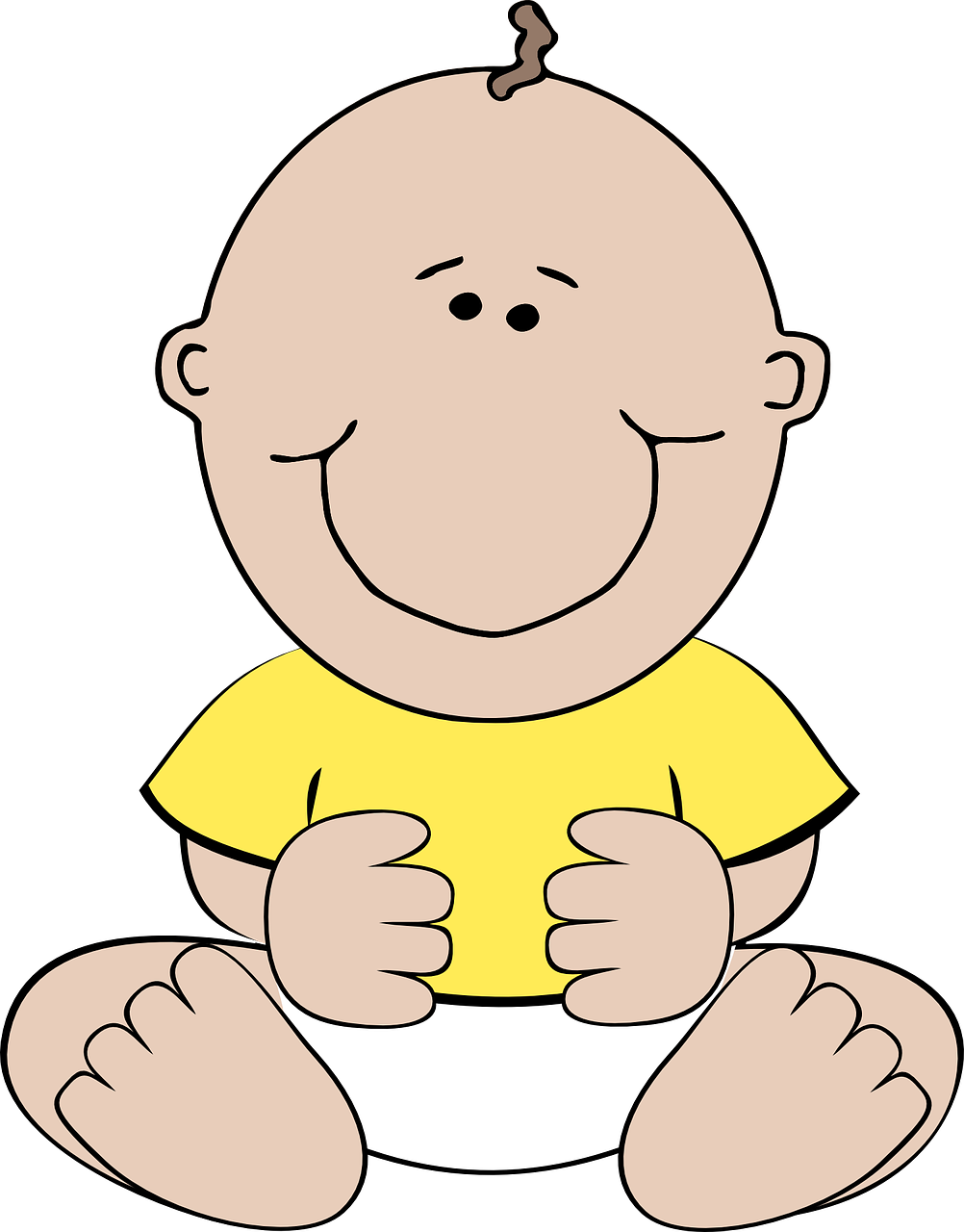 Baby sitting yellow happy. Infant clipart sit