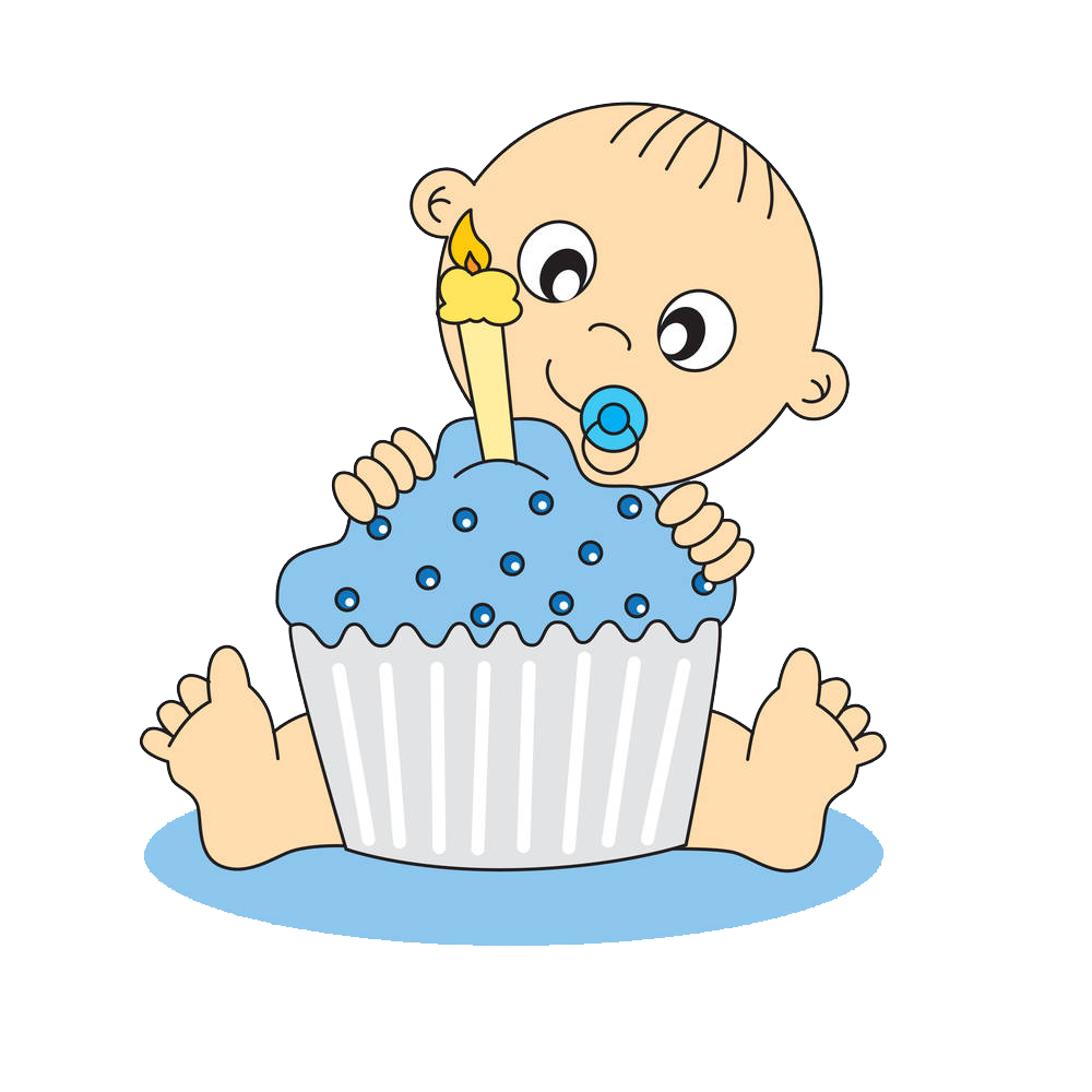 Birthday cake greeting card. Infant clipart year old