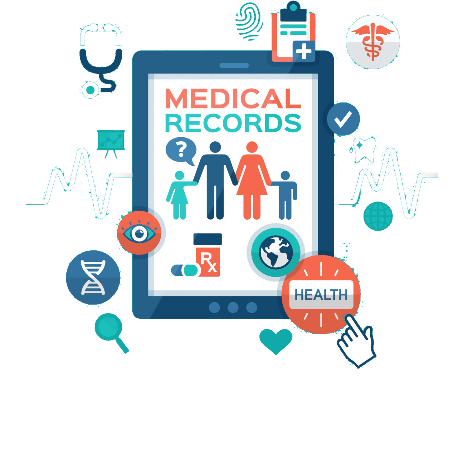 Hospital and clinic management. Patient clipart healthcare system