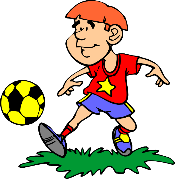 Image of soccer player. Kind clipart sporty kid