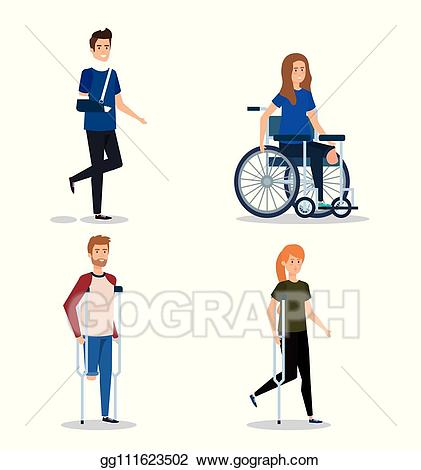 Injury clipart disabled person. Vector illustration set people
