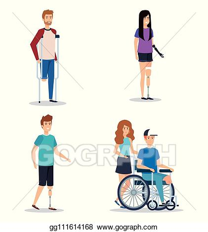 Vector art set people. Injury clipart disabled person
