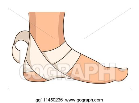 Vector art heel bandage. Injury clipart foot injury