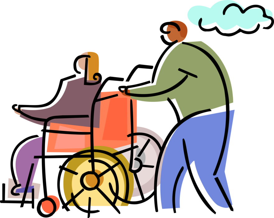 Hospital patient in wheelchair. Injury clipart handicap person
