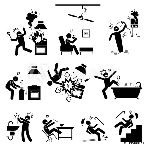 Injury clipart home accident. Safety hazard at dangerous