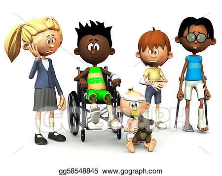 Injury clipart injured child. Stock illustration five cartoon