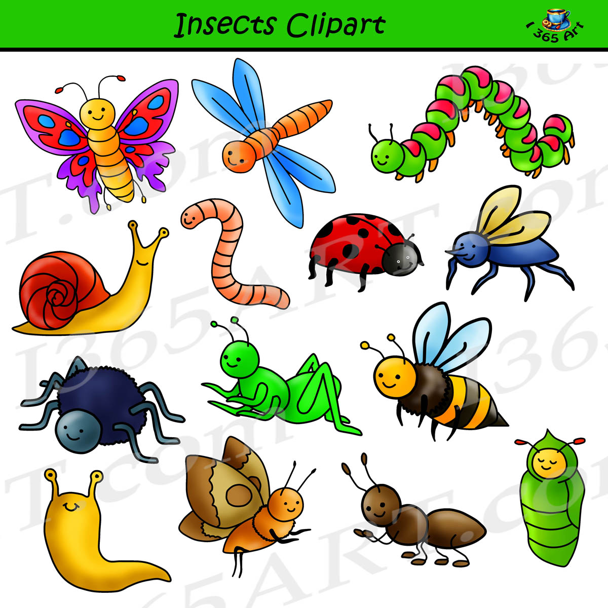 Set commercial use graphics. Insect clipart