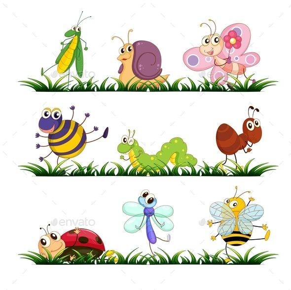 Insect clipart grass clipart. Illustration of mixed bugs