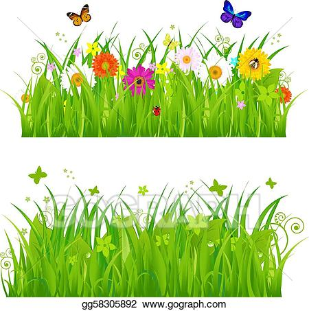 Vector illustration green with. Insect clipart grass clipart