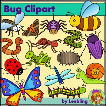 Insect clipart minibeast. Bug and color bw