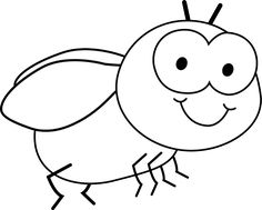 Black and white free. Insect clipart outline