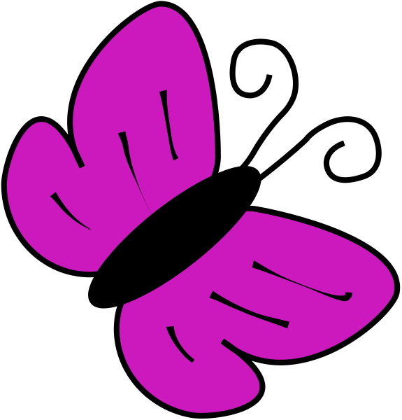 Butterfly clip art animals. Insects clipart purple