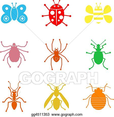 Insects clipart simple bug. Stock illustrations shapes gg