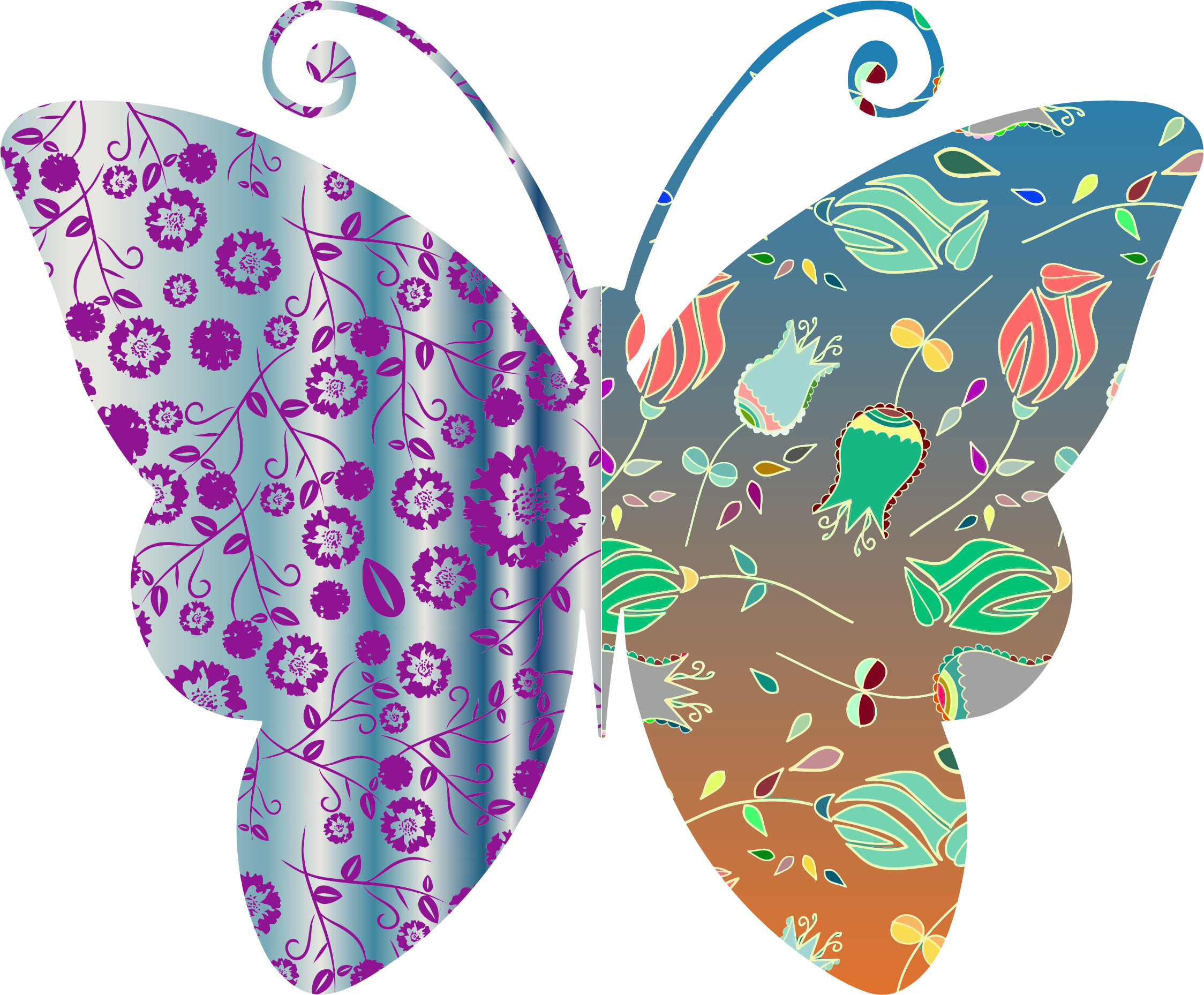 Moth clipart vintage butterfly. Style floral big image