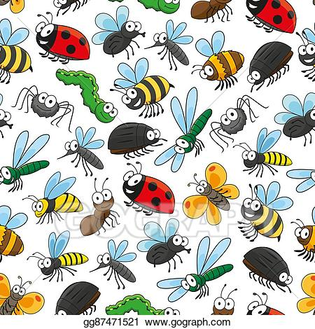 Insect clipart wallpaper. Vector stock bugs and