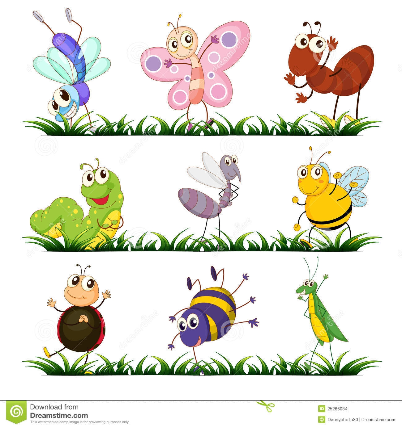 Unique design digital collection. Insects clipart