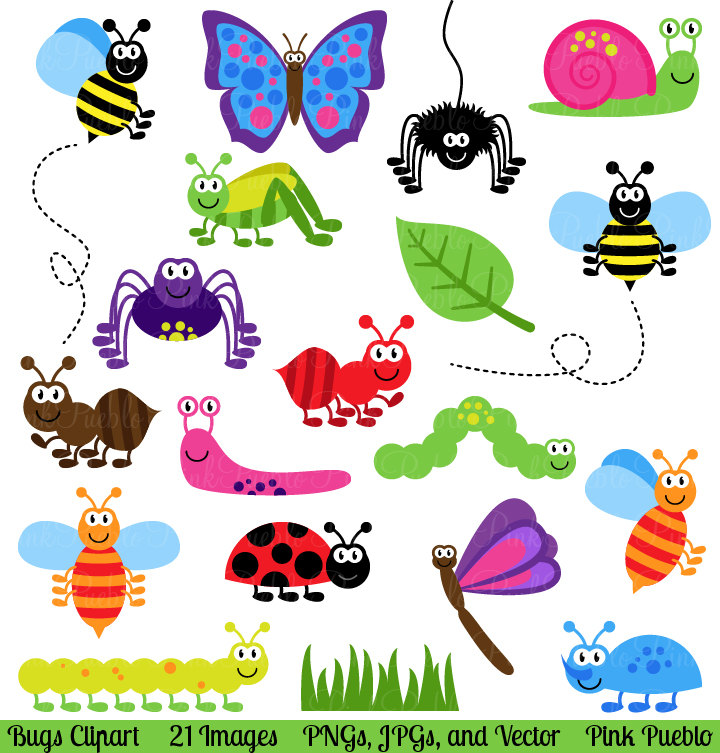 Bugs clip art vectors. Insects clipart