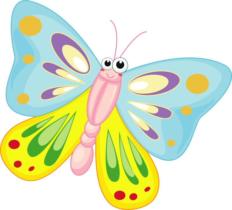 Cartoon butterfly medium image. Insects clipart summer