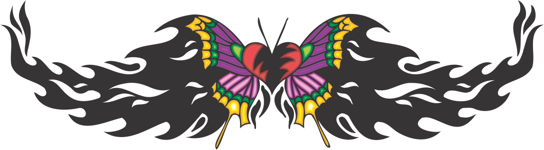 Butterfly tattoo colored decal. Insects clipart tribal