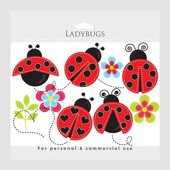 Ladybug stitched clip art. Ladybugs clipart adorable