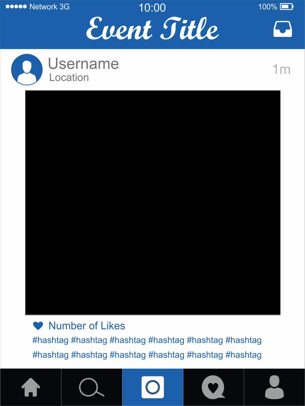 Editable blue photo prop. Instagram frame png