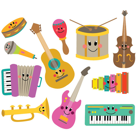 Musical vector set instant. Instruments clipart