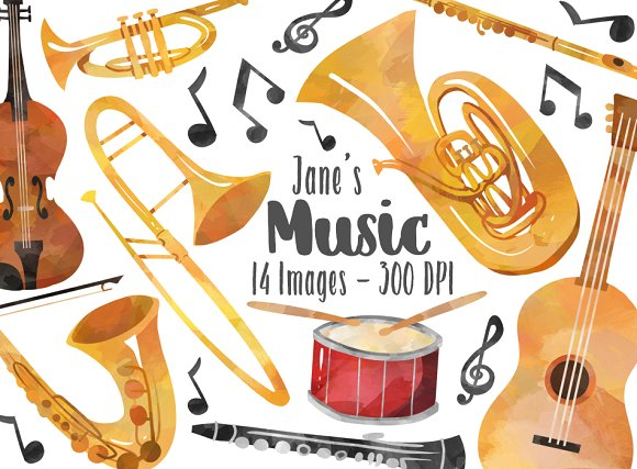 Musical illustrations creative market. Instruments clipart