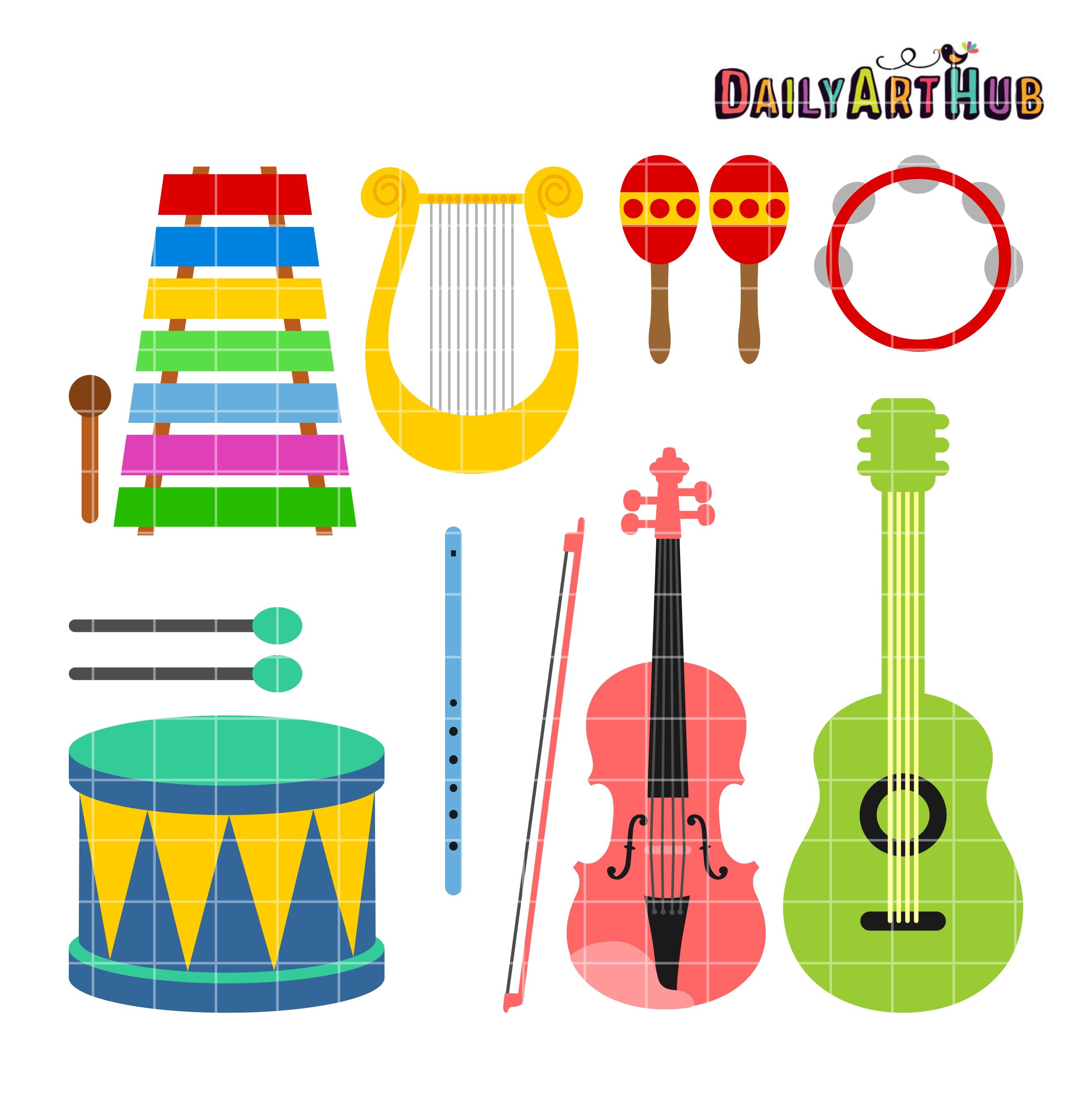 Musical clip art set. Instruments clipart