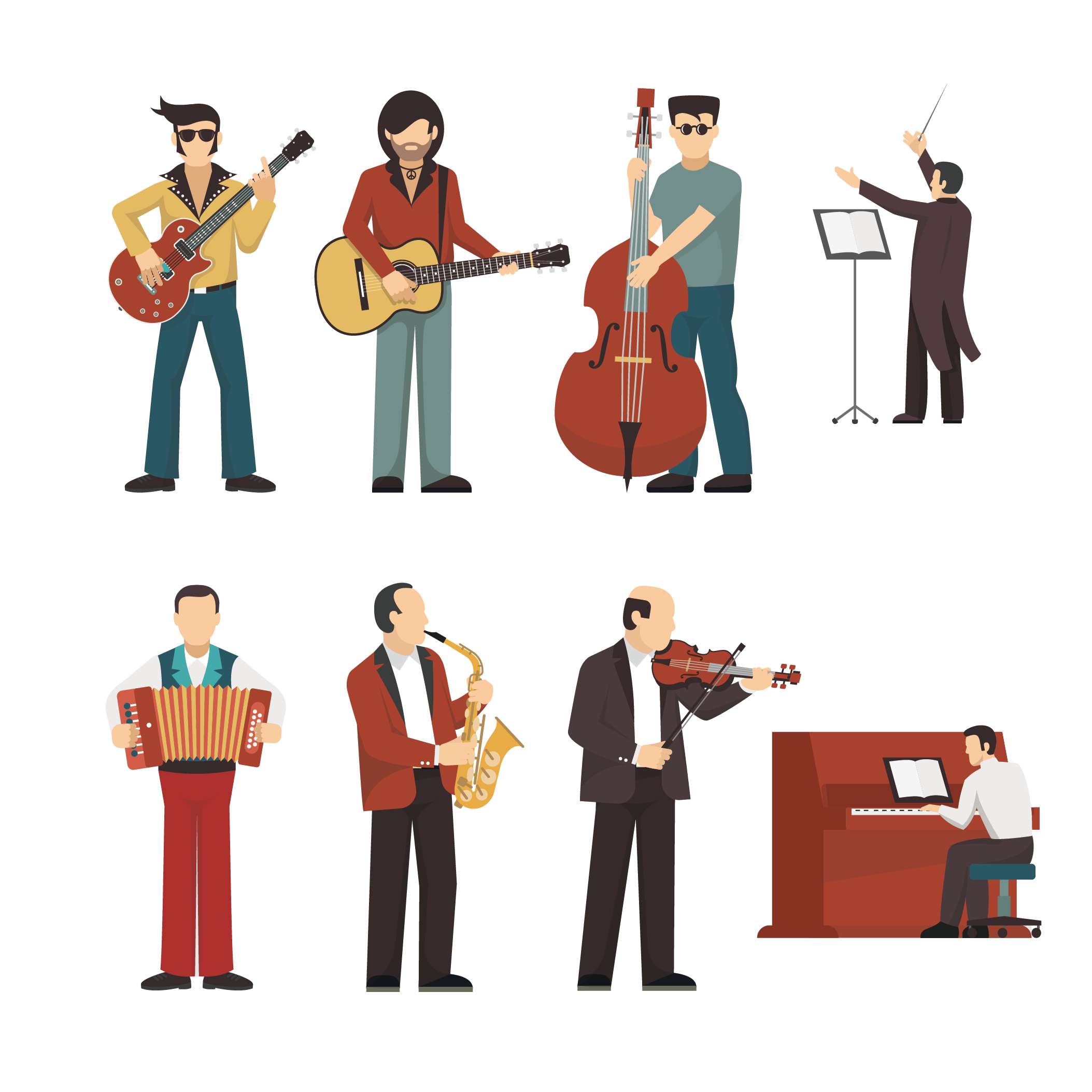 Musical instrument illustration people. Musician clipart music american
