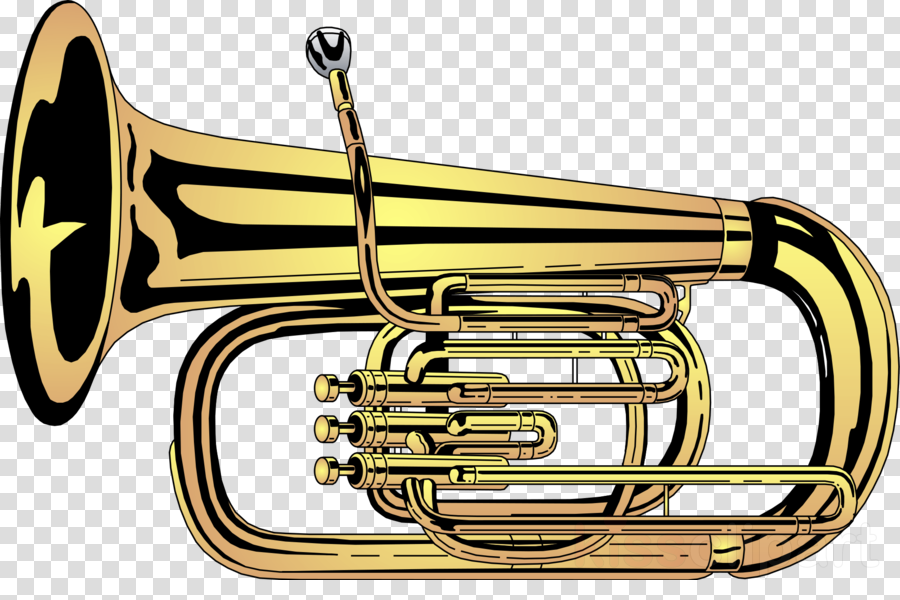 Brass instruments music trumpet. Musician clipart tuba player
