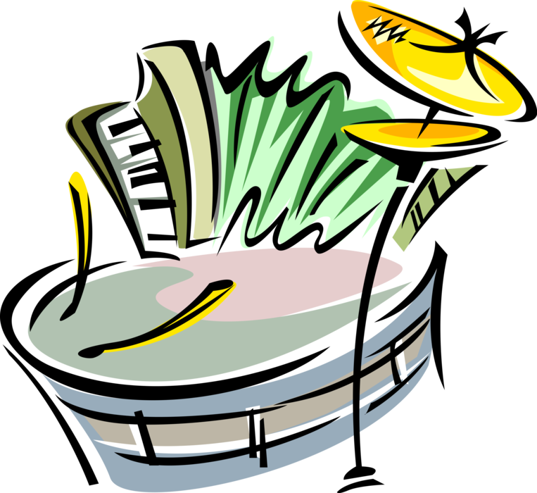 Snare drum accordion and. Instruments clipart cymbal