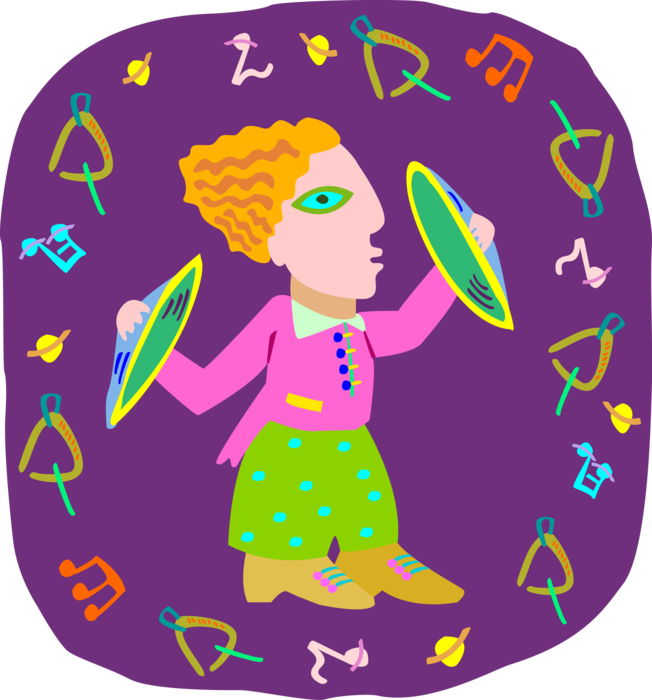 Youngster plays cymbals vector. Instruments clipart cymbal