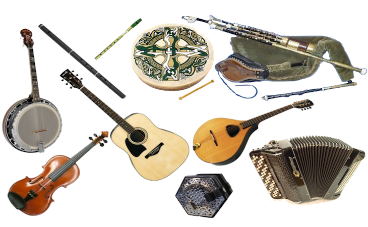 Irish musical instruments pictures. Musician clipart folk music