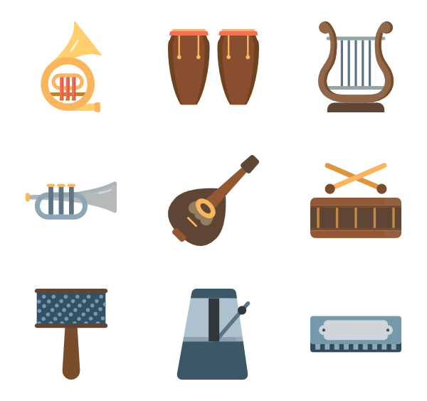 Instrument icons free vector. Xylophone clipart music equipment