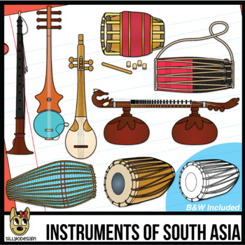 Instruments clipart mridangam. Musical of south asia
