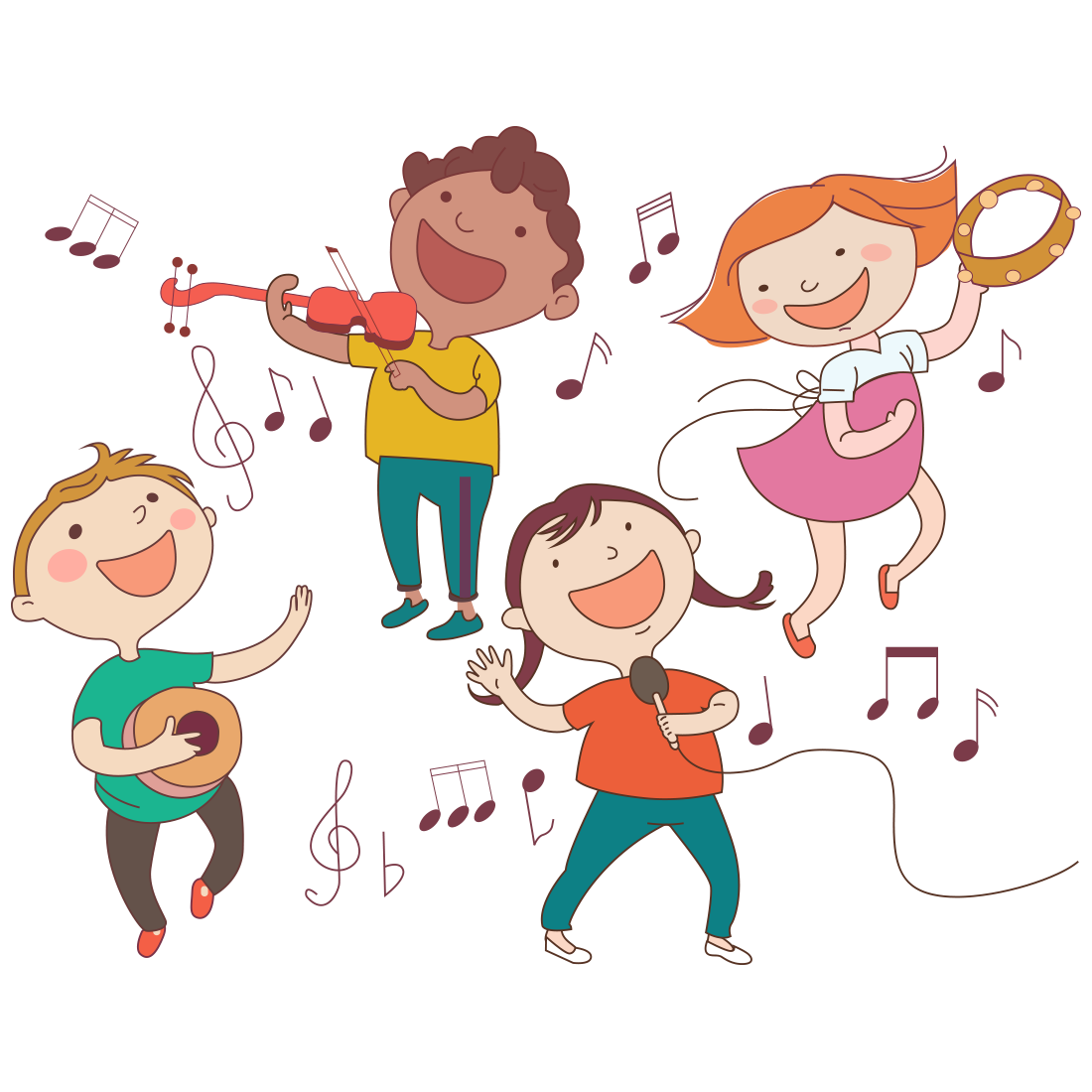 Musician clipart boy singer. Child musical instrument illustration