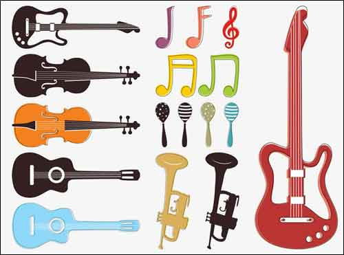 Music clip art sets. Instruments clipart popular