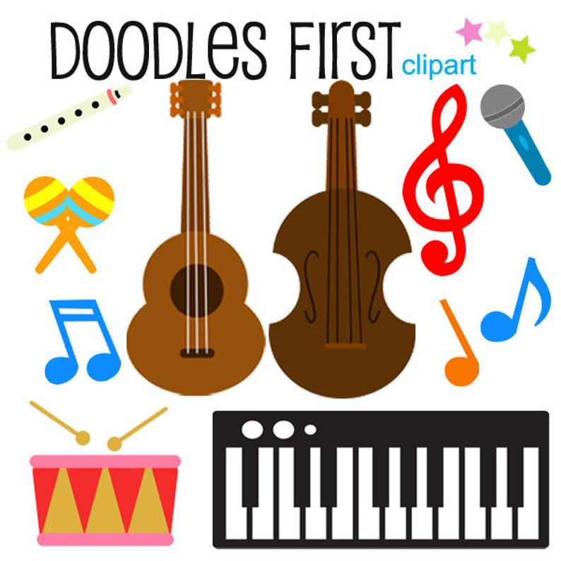 Musical digital clip art. Instruments clipart scrapbook