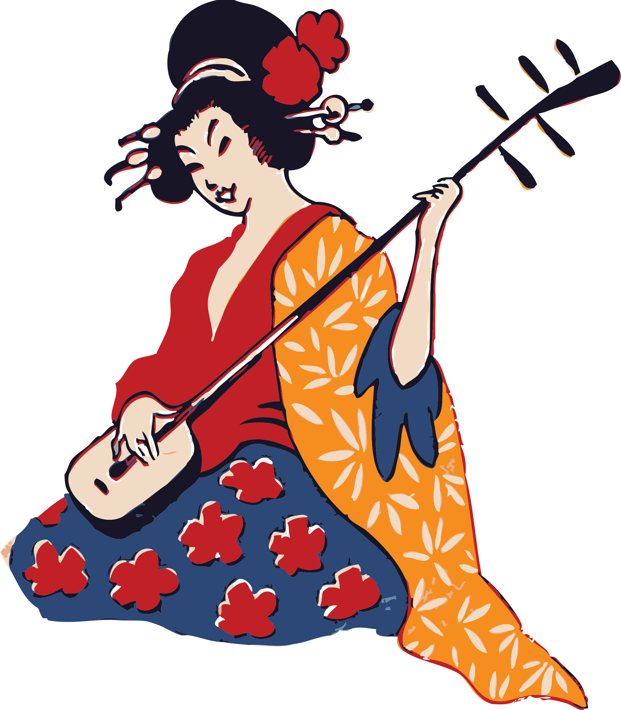 Geisha playing shamisen big. Japanese clipart person japan