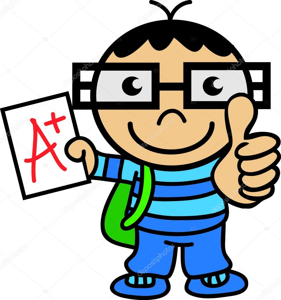 Clever student thumb up. Intelligent clipart
