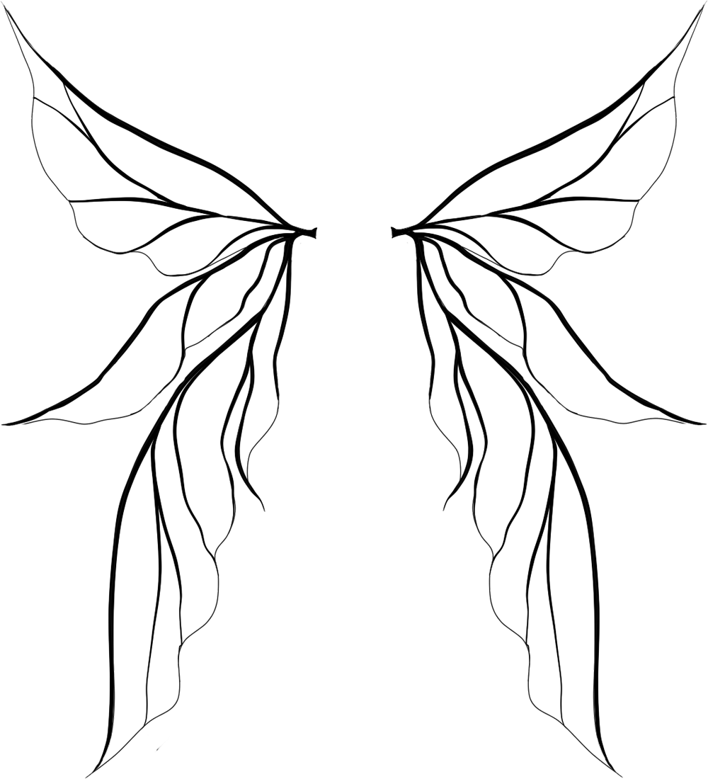 Wing clipart one wing. Fairy wings silhouette at