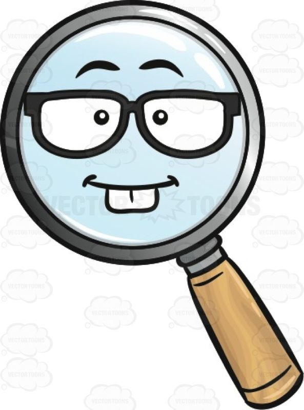 Intelligent clipart brilliance. Nerdy magnifier emoji amplify