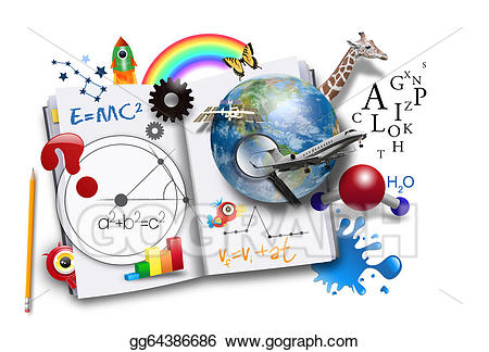 Intelligent clipart math science. Open learning book with