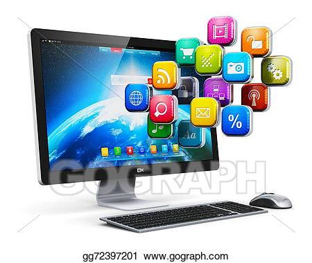 Stock illustration applications and. Pc clipart internet computer