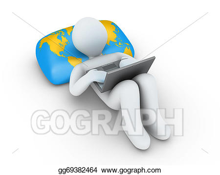 Drawing person with laptop. Internet clipart internet browsing