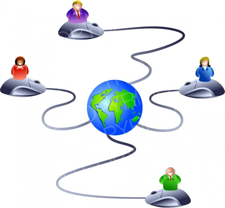 Internet clipart internet network. Computer icon people business