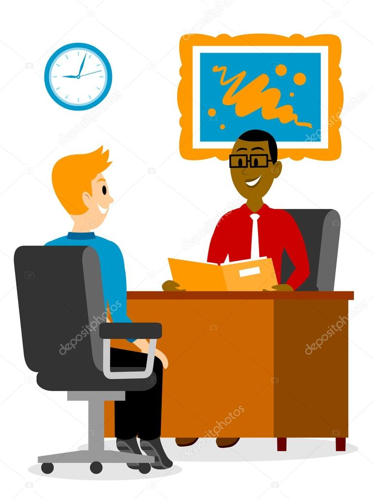 A young man getting. Interview clipart