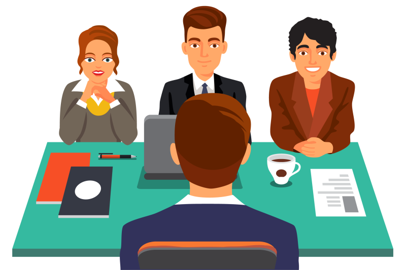 Customer cartoon job question. Interview clipart formal interview