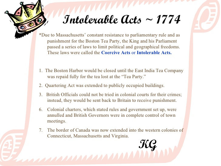 Intolerable acts clipart.