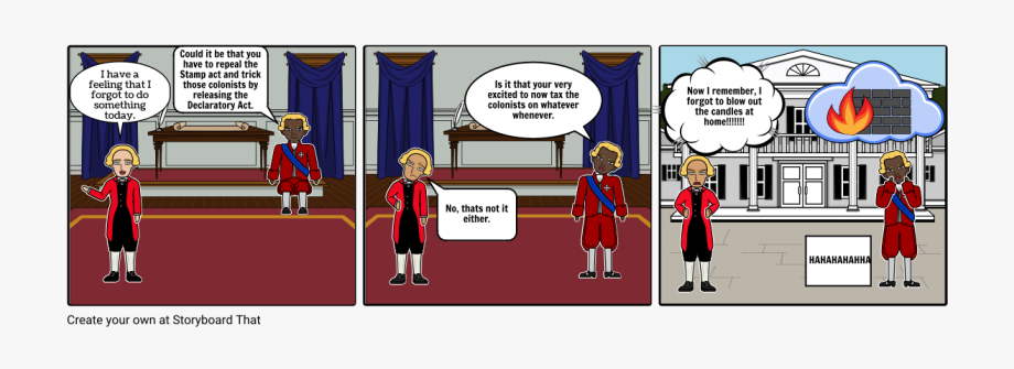 Declaratory act cartoon storyboard. Intolerable acts clipart animated